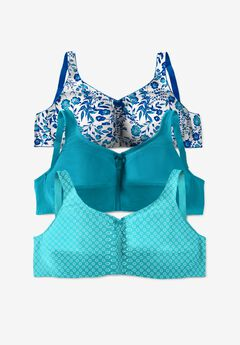 3-Pack Cotton Wireless Bra by Comfort Choice®, TURQUOISE ASSORTED
