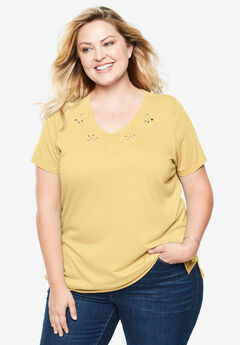 Embroidered V-Neck Cutout Tee,
