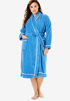 Spa Terry Short Wrap Robe by Dreams & Co.®, CORNFLOWER BLUE