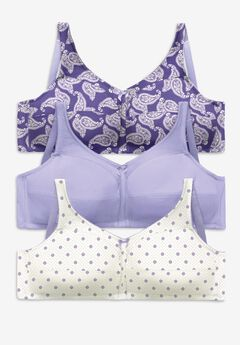 3-Pack Cotton Wireless Bra by Comfort Choice®, TULIP PURPLE PACK