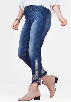 Embroidered Asymmetric Hem Jean by Chelsea Studio®,