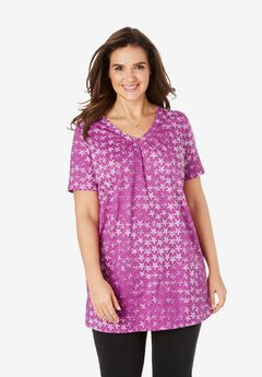 Perfect Printed Shirred V-Neck Tunic, RICH MAGENTA STAR OMBRE