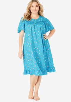 Short Floral Print Cotton Gown by Dreams & Co.®, BRIGHT AQUA FLOWERS