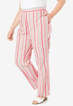 Straight Leg Linen Pant, TEA ROSE STRIPE