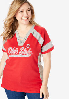 NCAA Team Logo Lace-Up V-Neck Tee,