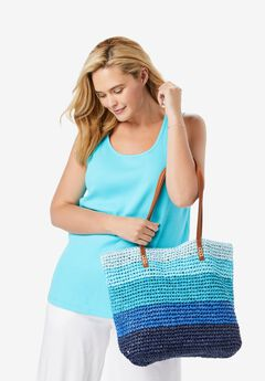 Color Block Straw Tote,
