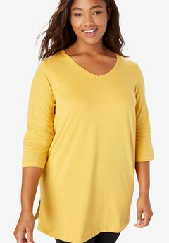 Perfect Three-Quarter Sleeve V-Neck Tunic,