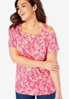 Square Neck Cold-Shoulder Tee,