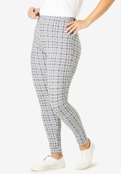 Stretch Cotton Printed Legging, HEATHER GREY HOUNDSTOOTH PLAID