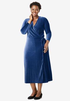 Crinkle Velour Faux Wrap Dress, EVENING BLUE
