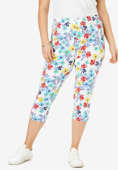 Stretch Cotton Printed Capri Legging,