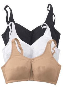 3-Pack Cotton Wireless Bra by Comfort Choice®, BASIC ASSORTED