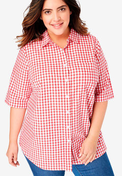 Button-Tab Short Sleeve Button-Down Seersucker Shirt,