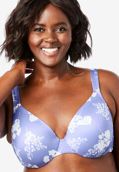 Microfiber Underwire T-Shirt Bra by Comfort Choice®, FRENCH LILAC SILHOUETTE FLORAL