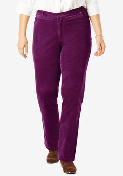 Corduroy Straight Leg Stretch Pant, DARK BERRY