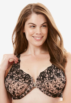 Embroidered Front-Close Underwire Bra by Amoureuse®, LIGHT TAUPE BLACK