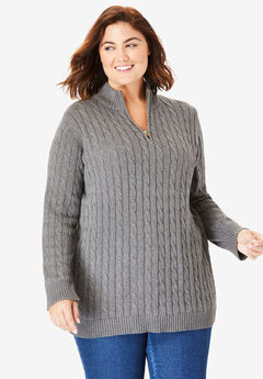 Cable Knit Half-Zip Pullover Sweater,