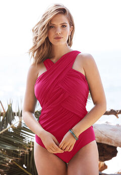 Wrap-Neck Maillot , CLASSIC RED