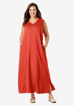 Sleeveless V-Neck Dress,