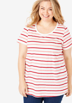 Perfect Printed Tee, VIVID RED MULTI STRIPE