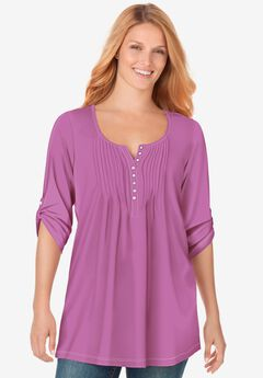 Three-Quarter Sleeve Pintucked Henley Tunic,