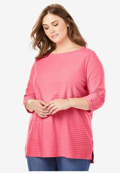 Textured Stripe Boatneck Tee,