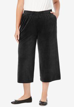 Velour Wide Leg Capri, BLACK