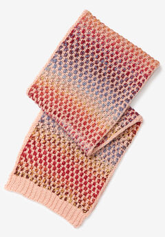 Multicolor Knit Scarf, PINK MULTI