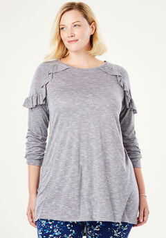Space-Dye Ruffle Shoulder Tunic by Chelsea Studio®, BLACK MARLED
