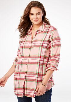 Classic Flannel Shirt, PINK SORBET PLAID
