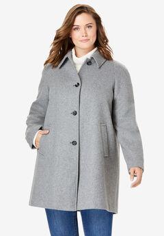 Wool-Blend Classic A-Line Coat,