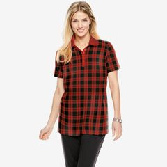 Perfect Printed Short-Sleeve Polo Shirt, CLASSIC RED PLAID