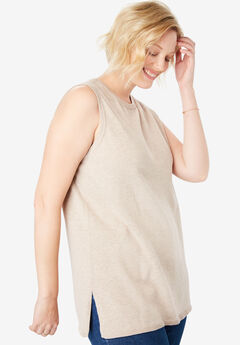 Perfect Cotton Sleeveless Crewneck, HEATHER SAND