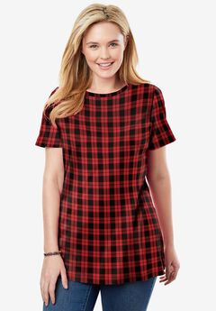 Perfect Printed Short-Sleeve Crewneck Tee, CLASSIC RED PLAID