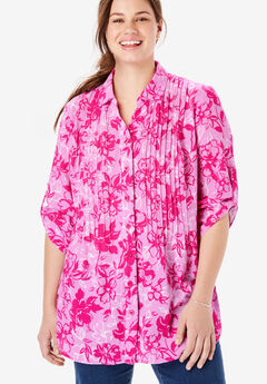 Pintucked Button Down Gauze Shirt, RASPBERRY SORBET BLOOMING FLORAL