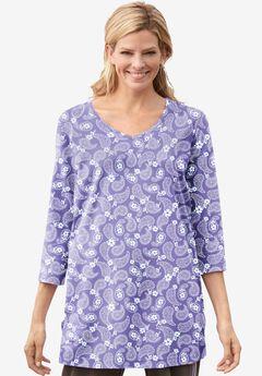 Perfect Printed Three-Quarter-Sleeve V-Neck Tunic,