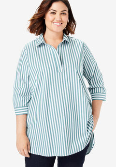 Perfect Popover Collared Shirt, RAINFOREST GREEN WIDE STRIPE