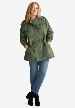 Pearl-Trim Anorak Jacket by ellos®, OLIVE GREEN