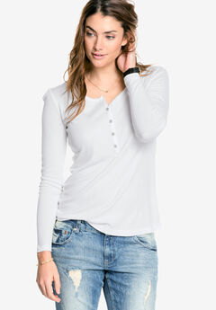 Ribbed Henley Knit Top by ellos®,