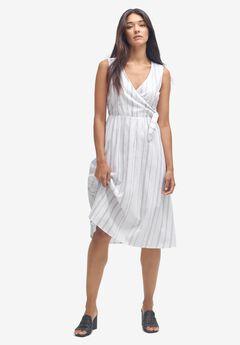 Striped Linen Faux-Wrap Dress by ellos®,
