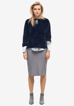 Glitter Rib-Knit Skirt by ellos®,