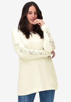 Lace Sleeve Sweatshirt Tunic by ellos®,