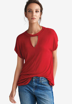 Cutout V-Neck Tee by ellos®,