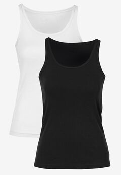 2-Pack Ribbed Knit Tank Top by ellos®, BLACK WHITE