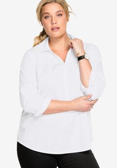 Stretch Popover Shirt by ellos®, WHITE
