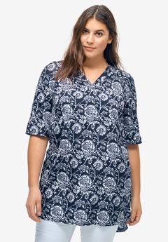 Front-And-Back V-Neck Woven Tunic by ellos®,
