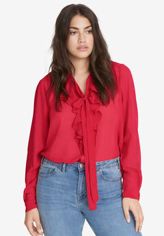 Ruffle-Front Tie-Neck Sheer Blouse by ellos®,