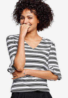 Flounce Sleeve Rib Top by ellos®, WHITE BLACK STRIPE