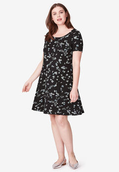 Short Sleeve A-Line Knit Dress by ellos®, BLACK FLORAL