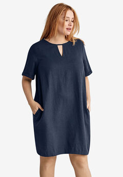 Linen-Blend A-Line Dress by ellos®,